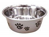 Ethical Products Barcelona Stainless Steel Paw Print Bowl Silver 32oz