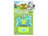 Bags on Board Turquoise Bone Dispenser with bags 30ct