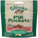 FELINE GREENIES PILL POCKETS Treats for Cats Salmon Flavor - 1.6 oz. 45 Treats
