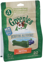 GREENIES Blueberry Flavor Petite Dog Dental Chews  - 12 Ounces 20 Treats
