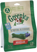GREENIES Blueberry Flavor Regular Size Dog Dental Chews  - 12 Ounces 12 Treats