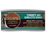 Daves Naturally Healthy Cat Food, Turkey & Giblets Dinner      Case Of 24