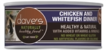 Daves Naturally Healthy Cat Food, Chicken & White Fish Dinner    Case Of 24