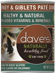 Daves Naturally Healthy Cat Food, Turkey & Giblets Pate Dinner Case Of 12