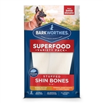 "Barkworthies Variety Pack Stuffed Shin Bones- 5-6"" (2pk SURP)- Peanut Butter and Sweet Potato, Pumpkin, & Carrot Blend"