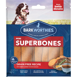 Barkworthies Mini SuperBone Grain Free with Beef & Sweet Potato  (12-Pack SURP)