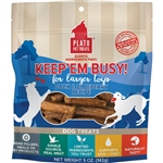 PLATO DOG KEEP 'EM BUSY DUCK & BLUEBERRY TREATS LARGE 5OZ