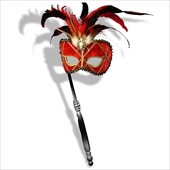 Red Venetian Mask with Stick