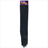 Long Velveteen Gloves Black Adult
