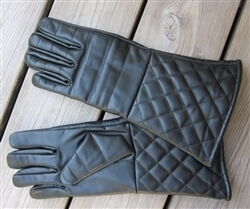 Padded Leather Gloves Black
