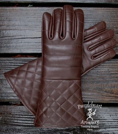 Padded Leather Gloves Brown