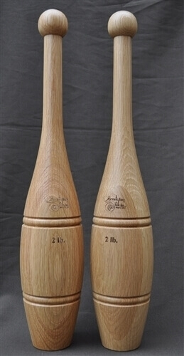 2lb Oak Indian Clubs - Pair