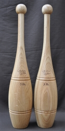 3lb Oak Indian Clubs - Pair