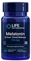 Melatonin 6 Hour Timed Release (750 mcg, 60 vegetarian tablets)