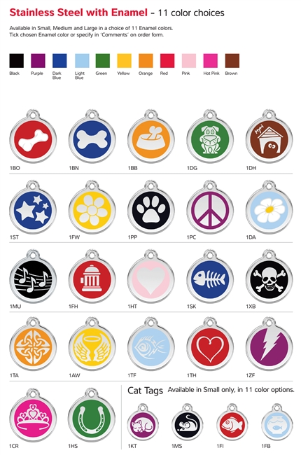 Red Dingo Stainless Steel Pet Tags with Enamel: Free Shipping