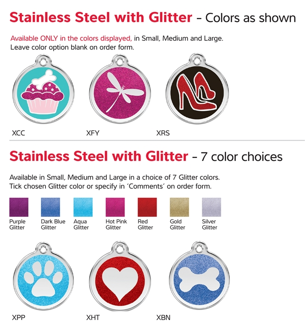 Red Dingo Stainless Steel Glitter Pet Tags with Enamel - Free Shipping