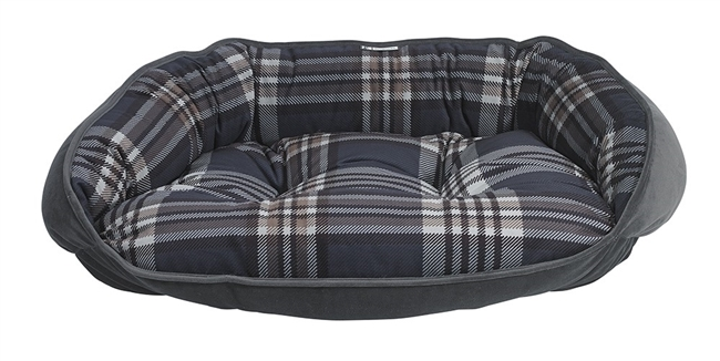 Bowsers Crescent Flip Dog Bed Greystone Tartan: Free Shipping