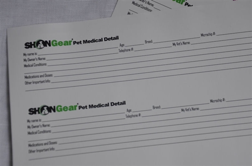 pet information sheet small medical detail forms 60 pk