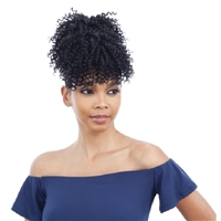 Glamourtress, wigs, weaves, braids, half wigs, full cap, hair, lace front, hair extension, nicki minaj style, Brazilian hair, crochet, hairdo, wig tape, remy hair, Lace Front Wigs, Model Model Pony Pom and Bang 2pcs Synthetic Drawstring Ponytail - SPRING