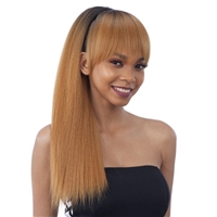 Glamourtress, wigs, weaves, braids, half wigs, full cap, hair, lace front, hair extension, nicki minaj style, Brazilian hair, crochet, hairdo, wig tape, remy hair, Lace Front Wigs, Model Model Synthetic Ponytail and Blunt Bang 2PCS - YAKY STRAIGHT