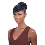 Glamourtress, wigs, weaves, braids, half wigs, full cap, hair, lace front, hair extension, nicki minaj style, Brazilian hair, crochet, hairdo, wig tape, remy hair, Lace Front Wigs, Remy Hair, Freetress Equal Synthetic Bun and Swoop Side Bang - FANCY BUN