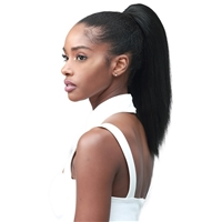 Glamourtress, wigs, weaves, braids, half wigs, full cap, hair, lace front, hair extension, nicki minaj style, Brazilian hair, crochet, hairdo, wig tape, remy hair, Lace Front Wigs, Bobbi Boss Human Hair Blend Tress Up Ponytail - MOD007 YAKY STRAIGHT 14