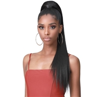Glamourtress, wigs, weaves, braids, half wigs, full cap, hair, lace front, hair extension, nicki minaj style, Brazilian hair, crochet, hairdo, wig tape, remy hair, Lace Front Wigs, Bobbi Boss Human Hair Blend Tress Up Ponytail - MOD010 YAKY STRAIGHT 28