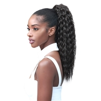 Glamourtress, wigs, weaves, braids, half wigs, full cap, hair, lace front, hair extension, nicki minaj style, Brazilian hair, crochet, hairdo, wig tape, remy hair, Lace Front Wigs, Bobbi Boss Human Hair Blend Tress Up Ponytail - MOD016 BRAZILIAN WAVE 18