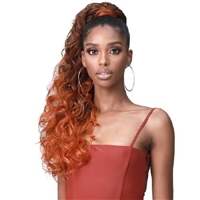 Glamourtress, wigs, weaves, braids, half wigs, full cap, hair, lace front, hair extension, nicki minaj style, Brazilian hair, crochet, hairdo, wig tape, remy hair, Lace Front Wigs, Bobbi Boss Human Hair Blend Tress Up Ponytail - MOD021 OCEAN WAVE 28