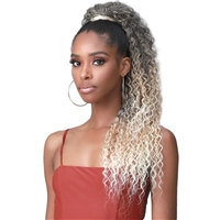 Glamourtress, wigs, weaves, braids, half wigs, full cap, hair, lace front, hair extension, nicki minaj style, Brazilian hair, crochet, hairdo, wig tape, remy hair, Lace Front Wigs, Bobbi Boss Human Hair Blend Tress Up Ponytail - MOD023 WATER WAVE 28