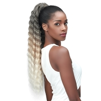 Glamourtress, wigs, weaves, braids, half wigs, full cap, hair, lace front, hair extension, nicki minaj style, Brazilian hair, crochet, hairdo, wig tape, remy hair, Lace Front Wigs, Bobbi Boss Human Hair Blend Tress Up Ponytail - MOD029 CRIMP CURL 26
