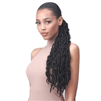 Glamourtress, wigs, weaves, braids, half wigs, full cap, hair, lace front, hair extension, nicki minaj style, Brazilian hair, crochet, hairdo, wig tape, remy hair, Lace Front Wigs, Bobbi Boss Human Hair Blend Tress Up Ponytail - NU LOCS 24