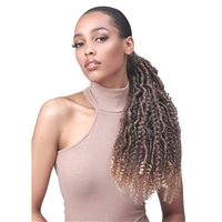 Glamourtress, wigs, weaves, braids, half wigs, full cap, hair, lace front, hair extension, nicki minaj style, Brazilian hair, crochet, hairdo, wig tape, remy hair, Bobbi Boss Human Hair Blend Tress Up Ponytail - NU LOCS WATER BOHO 18