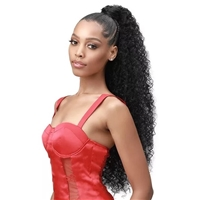 Glamourtress, wigs, weaves, braids, half wigs, full cap, hair, lace front, hair extension, nicki minaj style, Brazilian hair, crochet, hairdo, wig tape, remy hair, Lace Front Wigs, Bobbi Boss Up Synthetic Wrap Around Ponytail - NATURAL JERRY CURL 30