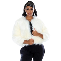 Glamourtress, wigs, weaves, braids, half wigs, full cap, hair, lace front, hair extension, nicki minaj style, Brazilian hair, crochet, hairdo, wig tape, remy hair, Lace Front Wigs, Remy Hair, Human Hair, Weaving Hair, GT White Fur Jacket - MJI3007P