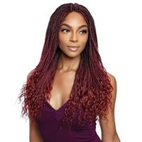 Glamourtress, wigs, weaves, braids, half wigs, full cap, hair, lace front, hair extension, nicki minaj style, Brazilian hair, crochet, hairdo, wig tape, remy hair, Mane Concept Synthetic Red Carpet Braided Lace Front Wig - RCIB206 WAVY ENDS BOX BRAID 24