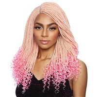 Glamourtress, wigs, weaves, braids, half wigs, full cap, hair, lace front, hair extension, nicki minaj style, Brazilian hair, crochet, hairdo, wig tape, remy hair, Mane Concept Red Carpet Inspire Braid Lace Part Wig RCIB204 CURLY ENDS SENEGAL TWIST 20