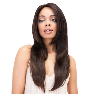 Glamourtress, wigs, weaves, braids, half wigs, full cap, hair, lace front, hair extension, nicki minaj style, Brazilian hair, crochet, hairdo, wig tape, remy hair, Janet Collection 100% Virgin Remy Human Hair Deep Part Lace Wig - YAKY STRAIGHT 26