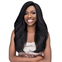 Glamourtress, wigs, weaves, braids, half wigs, full cap, hair, lace front, hair extension, nicki minaj style, Brazilian hair, crochet, hairdo, wig tape, remy hair, Janet Collection Natural Me Blowout Synthetic Hair HD Lace Wig - TAMILA