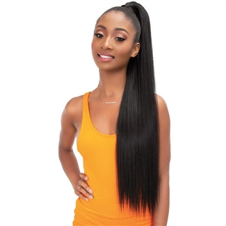 Glamourtress, wigs, weaves, braids, half wigs, full cap, hair, lace front, hair extension, nicki minaj style, Brazilian hair, crochet, hairdo, wig tape, remy hair, Lace Front Wigs, Remy Hair, Janet Collection ESSENTIALS Snatch & Wrap Pony Wrap Straight 32