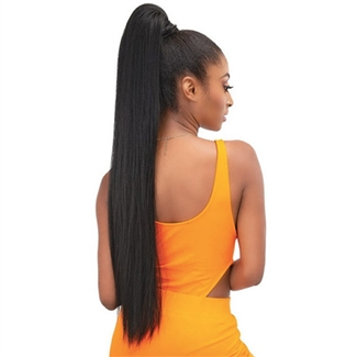 Glamourtress, wigs, weaves, braids, half wigs, full cap, hair, lace front, hair extension, nicki minaj style, Brazilian hair, crochet, hairdo, wig tape, remy hair, Lace Front Wigs, Remy Hair, Janet Collection ESSENTIALS Snatch & Wrap Pony Wrap Yaky Straig