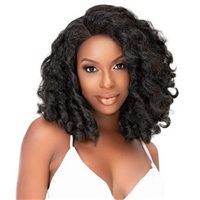 Glamourtress, wigs, weaves, braids, half wigs, full cap, hair, lace front, hair extension, nicki minaj style, Brazilian hair, crochet, hairdo, wig tape, remy hair, Janet Collection Human Hair Blend Natural Me Deep Part Swiss Lace Front Wig - AMANI
