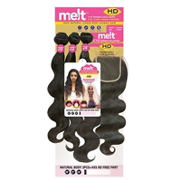 "Glamourtress, wigs, weaves, braids, half wigs, full cap, hair, lace front, hair extension, nicki minaj style, Brazilian hair, Janet Collection Melt 100% Natural Virgin Human Hair - NATURAL BODY 3PCS ( 12"",14"",16"" ) + 4x5 HD FREE PART"