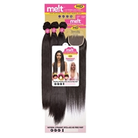 "Glamourtress, wigs, weaves, braids, half wigs, full cap, hair, lace front, hair extension, nicki minaj style, Brazilian hair, Janet Collection Melt 100% Natural Virgin Human Hair - NATURAL STRAIGHT 3PCS ( 14"",16"",18"" ) + 4x5 HD FREE PART"