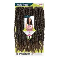 Glamourtress, wigs, weaves, braids, half wigs, full cap, hair, lace front, hair extension, nicki minaj style, Brazilian hair, crochet, hairdo, wig tape, remy hair, Janet Collection Nala Tress Synthetic Crochet Braid - 3X SPRING TWIST 16