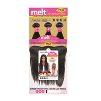 Janet Collection 100% Natural Virgin Remy Human Hair - MELT BUNDLE STRAIGHT 3PCS (12,14,16) + 13x5 HD LACE FRONTAL