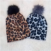 Leopard Beanie with Fur Pom Pom