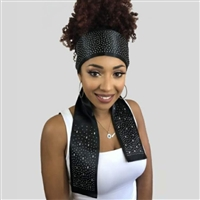Glamourtress, wigs, weaves, braids, half wigs, full cap, hair, lace front, hair extension, nicki minaj style, Brazilian hair, crochet, hairdo, wig tape, remy hair, Lace Front Wigs, Remy Hair, Human Hair, Monique Trendy Edgy Scarf - Rhinestone Design