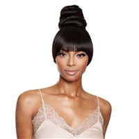 Glamourtress, wigs, weaves, braids, half wigs, full cap, hair, lace front, hair extension, nicki minaj style, Brazilian hair, crochet, hairdo, wig tape, remy hair, Lace Front Wigs, Remy Hair, Mane Concept Synthetic Yellowtail BangBun - YTBB06 CRUFFIN