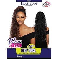 Glamourtress, wigs, weaves, braids, half wigs, full cap, hair, lace front, hair extension, nicki minaj style, Brazilian hair, crochet, wig tape, remy hair, Lace Front Wigs, Mane Concept Human Hair StyleMix Brazilian Mega Wrap & Tie Ponytail - MBWNT04 DEEP